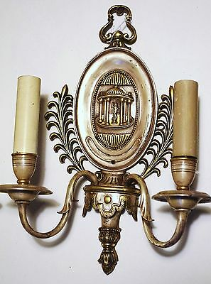 Pair (2)  E. F. Caldwell Bronze Sconces With Silver, Gold Back Plate. Offers! 7