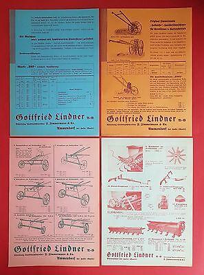 4 x Prospekt Blatt LINDNER Ammendorf 1935 HALLENSIS Drillmaschinen ( F16442