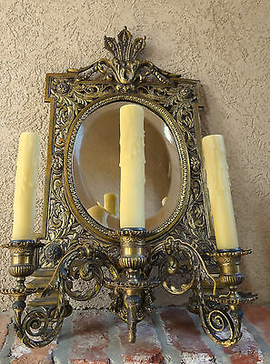 Antique French Brass Wall Sconce Light Fixture Beveled Oval Mirror Art Nouveau 4