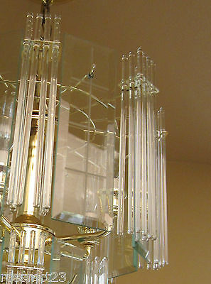 Vintage Lighting pair 1970s Mod glass rod chandeliers 4