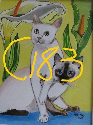 "C74  Original Acrylic Painting By Ljh   ""Minnie""   Cat 11"