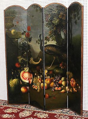 Antique Style French Four Panel Hand Painted Peacock Fruit Screen Divider 10