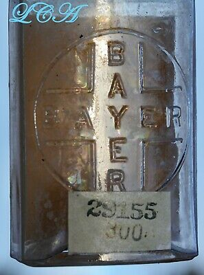 Antique BAYER HEROIN TABLETS bottle 1st style used hand Blown In Mold BIM 1800's 4