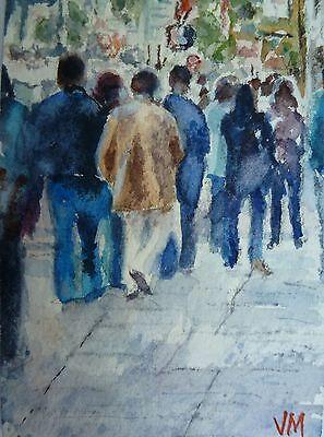 ACEO Original collectible art card Watercolor Painting San Francisco pedestrians 2