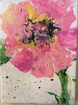 Aceo Acrylic Painting~ -Pink Flower~Artist~Marina Del Rey~Original 4