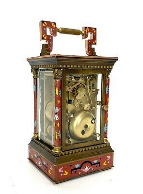 French Style Floral Red Enamel Brass 8 Day Repeater Calendar Carriage Clock 5