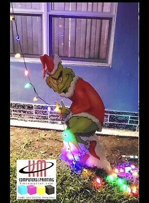 Yard sign Christmas Grinch stealing lights prop 3
