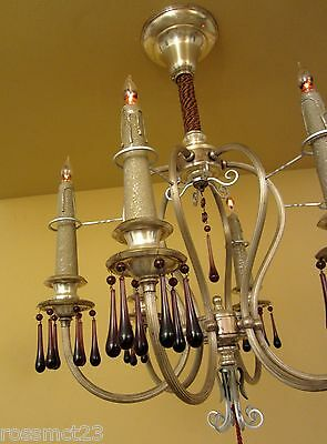 Vintage Lighting matched pair extraordinary 1920s silver chandeliers 3