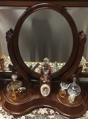 Antique Victorian Mahogany Toilet Mirror with Scroll Supports and Compartments 2