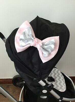 Grey white chevrons PUSHCHAIR PRAM LINER  DOUBLE BOW HARNESS COVERS HAND MADE 3