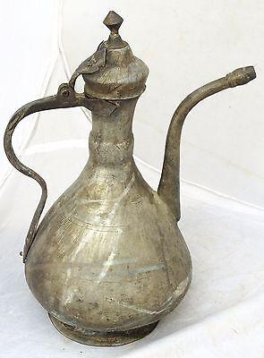 Antique Islamic Turkish Ottoman Ibrik Tall Pot Copper Arabic 19C 3