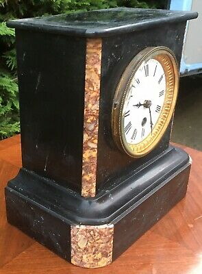 antique Marble Slate Mantel Mantle Clock French Paris Love 3