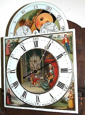 Antique Inlaid Mahogany Moon Phase Longcase Grandfather Clock FURNIVAL OLDHAM 5