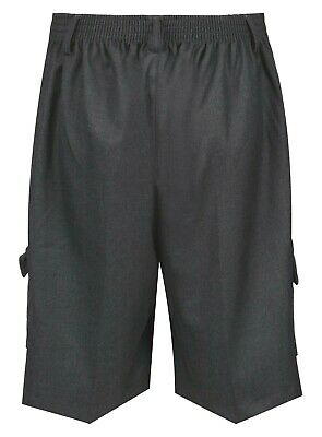 Boys School Cargo Shorts Grey Black Ages 2-16 Years Elastic Waist 3