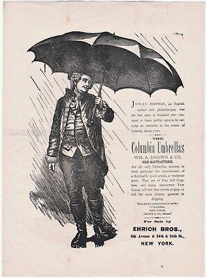 RARE Advertising Broadside - Wm Drown Co Columbia Umbrellas 1870s Ehrich Bros NY 2