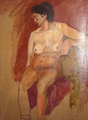 Vintage European large oil painting nude 4