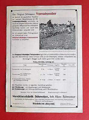 Prospekt SCHMOTZER 1935 Vorratsroder  ( F16448