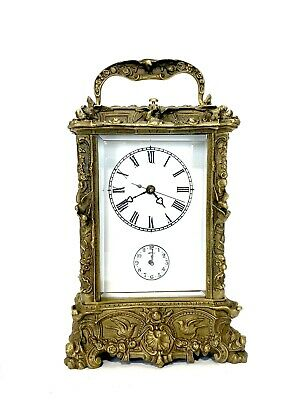 French Style Art Nouveau Brass Case Porcelain Dial 8 Day Repeater Carriage Clock 2