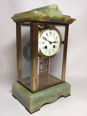 Late 19th Century French Green Onyx 4 Glass Striking Clock with Mercury Pendulum 2