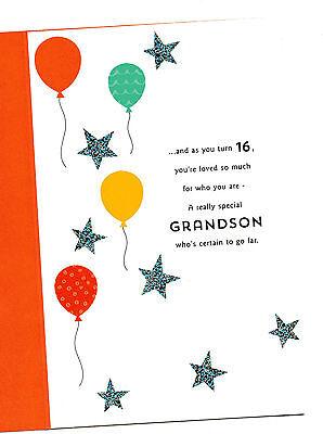 Happy 16th birthday grandson three fold 16 greeting card with three fold 16 greeting card with lovely words m4hsunfo