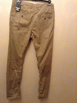 BNWT ⭐️Next ⭐️Age 12 Boys Girls Skinny Beige Nude Chino Scull Print Trousers New 5