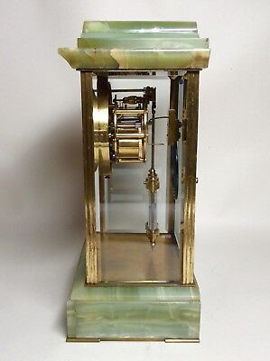 Late 19th Century French Green Onyx 4 Glass Striking Clock with Mercury Pendulum 10