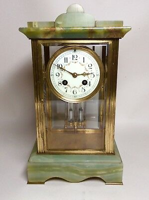 Late 19th Century French Green Onyx 4 Glass Striking Clock with Mercury Pendulum 8