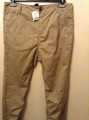 BNWT ⭐️Next ⭐️Age 12 Boys Girls Skinny Beige Nude Chino Scull Print Trousers New 4