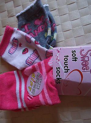 Brand>New>3 Pack>Multi>Colour>Sweet>Soft>Touch>Girls>Socks>Uk>Size 6-8.5 3