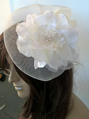 ivory satin flower fascinator millinery burlesque wedding hat bridal race x 2