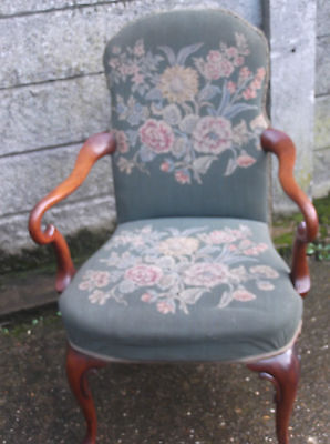 Superb Victorian Walnut Tapestry Armchair Very Clean Delivery Available 8