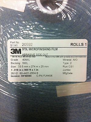 """3M 20592  373L Microfinishing Film Roll 40MIC 1.319""""X900' NEW 2"""