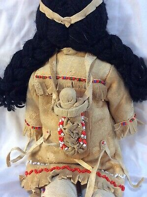Deerskin and Beadwork  Father, Mother and Baby Handmade Antique America's 4