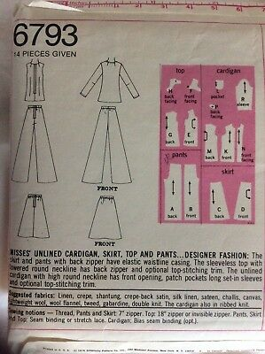 VTG 74 SIMPLICITY 6793 Misses Unlined Cardigan Top Skirt & Pants PATTERN 12/34B 3