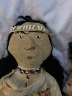 Deerskin and Beadwork  Father, Mother and Baby Handmade Antique America's 8