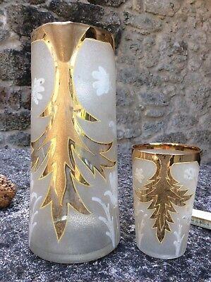 Jarra y vaso de cristal pintado Antiquísimo 3