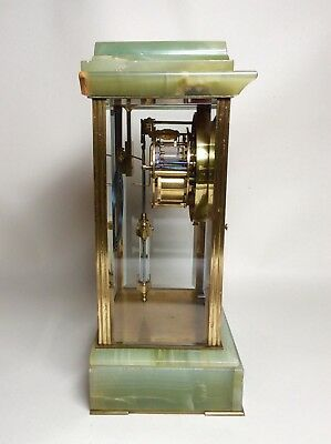 Late 19th Century French Green Onyx 4 Glass Striking Clock with Mercury Pendulum 7