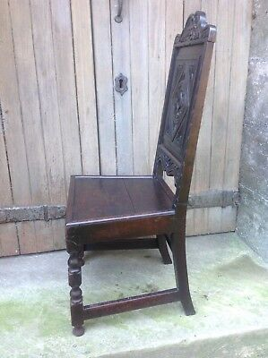 Splendid 17th century demon bat carved oak Wainscot chair Anglesey North Wales 12