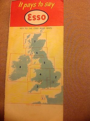 Vintage Esso Map Section 2 South and East England 1958 cover Whykiss ordnance 2