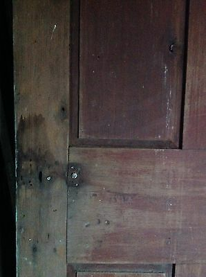 ANTIQUE DOOR NEW ENGLAND 18th CENTURY INTERIOR 4 PANEL ORIGINAL RED PAINT 2