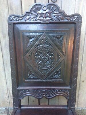 Splendid 17th century demon bat carved oak Wainscot chair Anglesey North Wales 4