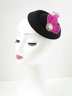 Black Hot Pink Silver Feather Pillbox Fascinator Hat Races Vintage Hair Clip 138 3