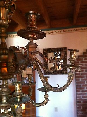 Incredible 1800s French Bronze Figural Candle Chandelier Baal~Hamon & Tanit 5