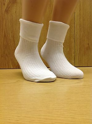 6 Pairs Girls Turn Over Top White Ankle Socks * All Sizes Available* Uk Made 3