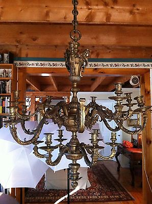 Incredible 1800s French Bronze Figural Candle Chandelier Baal~Hamon & Tanit 7
