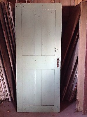 ANTIQUE DOOR NEW ENGLAND 18th CENTURY INTERIOR 4 PANEL ORIGINAL RED PAINT 3