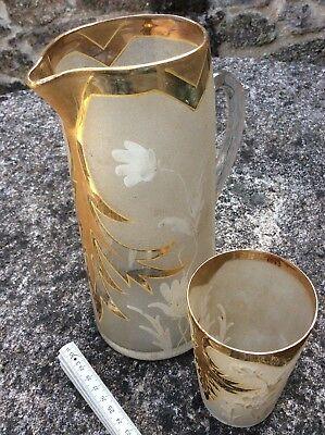 Jarra y vaso de cristal pintado Antiquísimo 2