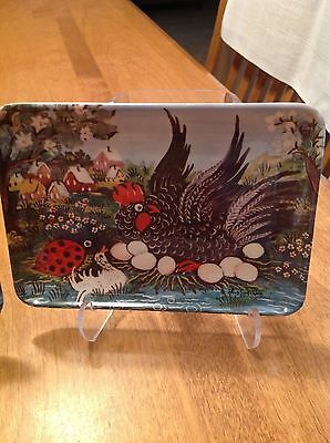 6 Vintage Decorative Crafts Inc Melamine Trays Owl Rooster Leopard