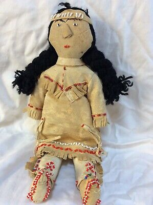 Deerskin and Beadwork  Father, Mother and Baby Handmade Antique America's 10