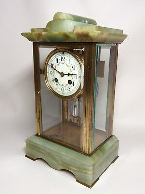 Late 19th Century French Green Onyx 4 Glass Striking Clock with Mercury Pendulum 3